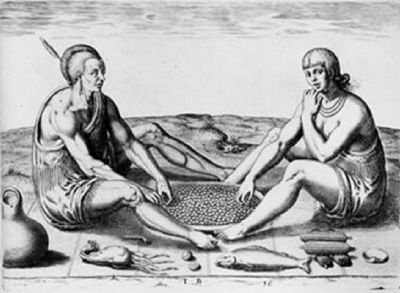 This 16th century engraving by Theodore De Bry depicts natives with some of their traditional foods. It looks like this romantic couple is enjoying a tray of chinquapins.